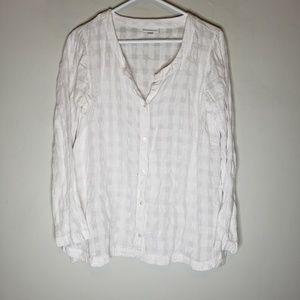 J Jill Linen Blend White Button Down Shirt Small